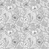 Черно-белый цветочный узор с пшеницей и листьями Стоковые Изображения RF