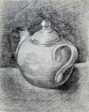 Черно-белый чайник чертежа карандаша Стоковые Фото