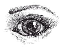 Черно-белый чертеж глаза Стоковое Фото