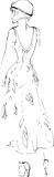 Черно-белый эскиз девушки в красивом платье Стоковое Изображение RF