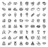 64 черно-белых значка нарисованных рукой - ЕДА & ВАРИТЬ иллюстрация вектора