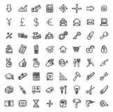 64 черно-белых значка нарисованных рукой бесплатная иллюстрация