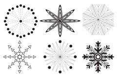 6 черно-белых снежинок на белой предпосылке стоковая фотография