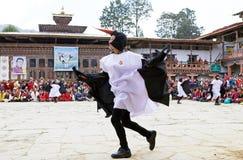 Черно-necked танец на монастыре Gangtey, Gangteng крана, Бутан Стоковое Изображение RF
