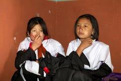 Черно-necked танцоры крана на монастыре Gangtey, Gangteng, Бутане Стоковое Изображение RF