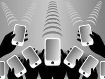 Черные, белые и серые мобильные телефоны предпосылки Стоковое Фото