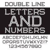 Черные белые письма и номера прокладки Шрифт сдвоенной линии плоский Стоковое Изображение