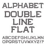 Черные белые прописные буквы Шрифт сдвоенной линии плоский Стоковое Изображение