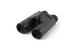 Черные бинокли изолированные на белой предпосылке Штабелировать фокуса направлять фокус поля глубины камеры бочонка угла вниз вес Стоковые Фотографии RF