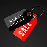 Черные бирки продаж пятницы Стоковые Фотографии RF