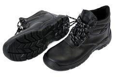 Черные ботинки безопасности - пары Стоковые Фото