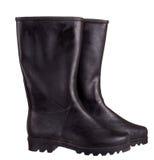 Черные ботинки Веллингтона, wellies, изолированные над белой предпосылкой Стоковые Фото