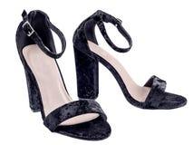Черные ботинки высоких пяток Стоковое Изображение RF