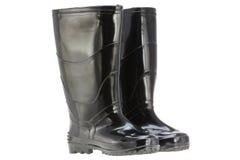 Черные ботинки дождя (резиновые ботинки) Стоковое Изображение RF