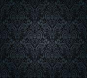 Черные винтажные безшовные флористические обои Стоковое фото RF