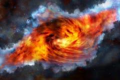 черные голубые облака продырявят красный цвет nebula Стоковая Фотография