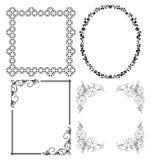 Черные декоративные рамки - комплект Стоковые Изображения RF