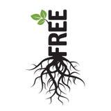 Черные дерево, корни и текст ОСВОБОЖДАЮТ Стоковая Фотография RF