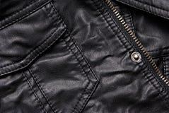 Черные детали кожаной куртки Стоковые Фотографии RF
