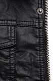 Черные детали кожаной куртки Стоковое Фото