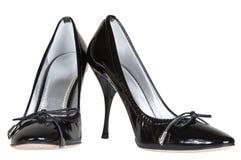 Черные женские ботинки Стоковая Фотография