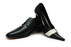 черные женские мыжские ботинки Стоковое Фото