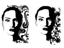 черные женские портреты белые иллюстрация вектора