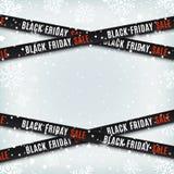 Черные знамена продажи пятницы Предупреждающие ленты, ленты на предпосылке зимы бесплатная иллюстрация
