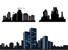 Черные значки города на белой предпосылке Собрание силуэтов иллюстрация вектора