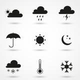 Черные значки погоды Стоковое Изображение RF