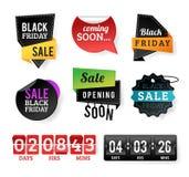 Черные значки продажи пятницы иллюстрация штока