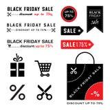 Черные значки продажи пятницы Стоковые Изображения RF