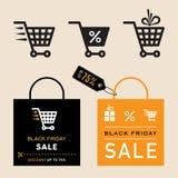 Черные значки продажи пятницы Стоковые Фото