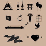 Черные значки свадьбы Стоковые Изображения