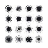 Черные значки солнца Стоковые Изображения RF