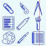 Черные значки товаров школы Часть 2 Стоковое Изображение RF