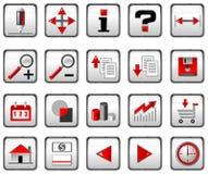 черные иконы компьютера красные Стоковое Фото