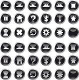 черные иконы круга Стоковые Фотографии RF