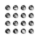 черные иконы падения документа Стоковое Изображение