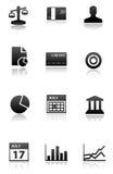 черные иконы финансов белые Стоковые Фотографии RF