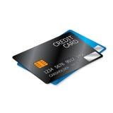 Черные и голубые кредитные карточки Стоковое фото RF