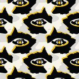 Черные и желтые графические абстрактные формы темных глаз иллюстрация вектора