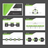 Черные и зеленые элементы Infographic шаблона представления и flye брошюры маркетинга рекламы плоского дизайна значка установленн Стоковое Изображение RF