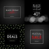 Черные иллюстрации продажи пятницы для социальных знамен средств массовой информации, объявлений, информационых бюллетеней, плака Стоковая Фотография RF