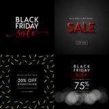 Черные иллюстрации продажи пятницы для социальных знамен средств массовой информации, объявлений, информационых бюллетеней, плака Стоковое Фото