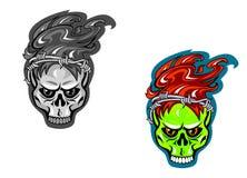черные иллюстрации установили вектор tattoos черепа белым Стоковое Изображение