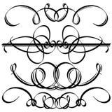 Черные каллиграфические элементы. Иллюстрация вектора Стоковое фото RF
