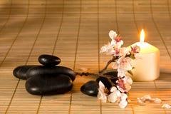 Черные камни, свечка и ветвь цветка. Стоковое Изображение
