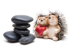 черные камни hedgehogs сердца Стоковая Фотография RF