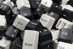 черные клавиши на клавиатуре компьютера штабелируют белизну Стоковые Изображения